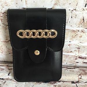Handbags - Faux Leather Black Belt Pouch